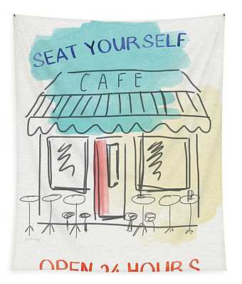 Seat Yourself Cafe- Art By Linda Woods Tapestry