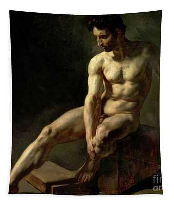 Seated Male Nude Tapestry