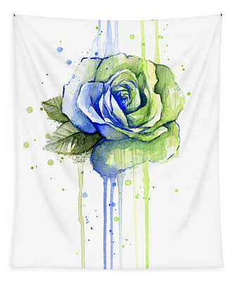 Seattle 12th Man Seahawks Watercolor Rose Tapestry