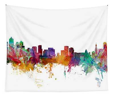 Seattle And Miami Skylines Mashup Tapestry