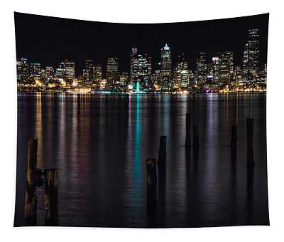 Seattle At Night Tapestry