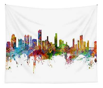 Seattle, Honolulu And Miami Skylines Mashup Tapestry