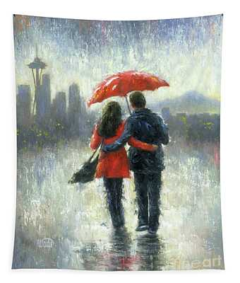 Seattle Lovers In The Rain Tapestry