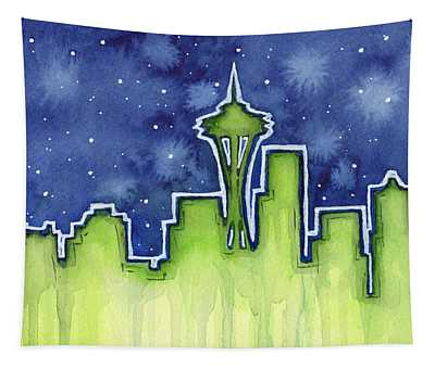 Seattle Night Sky Watercolor Tapestry