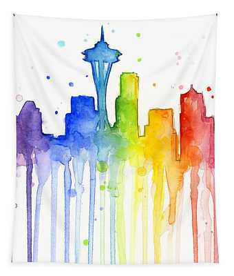 Seattle Rainbow Watercolor Tapestry