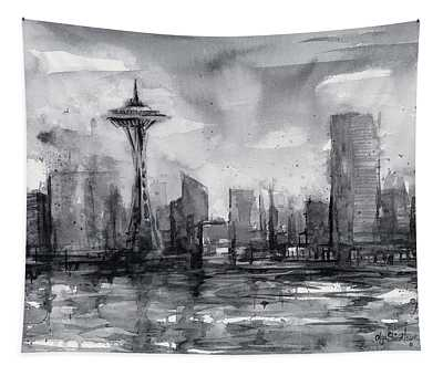 Seattle Skyline Painting Watercolor  Tapestry
