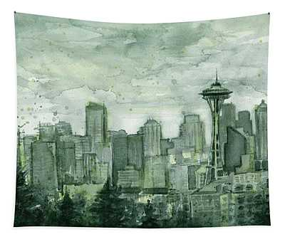 Seattle Skyline Watercolor Space Needle Tapestry