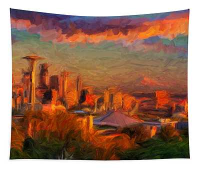 Seattle Sunset 1 Tapestry