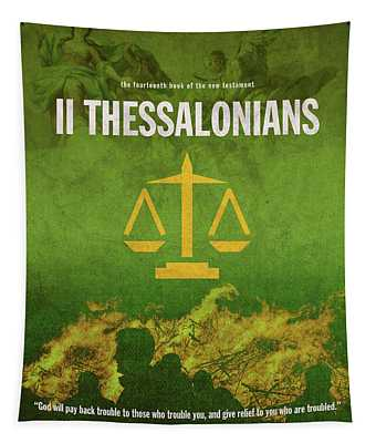 Second Thessalonians Books Of The Bible Series New Testament Minimal Poster Art Number 14 Tapestry