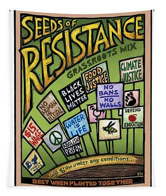 Seeds Of Resistance Tapestry by Ricardo Levins Morales