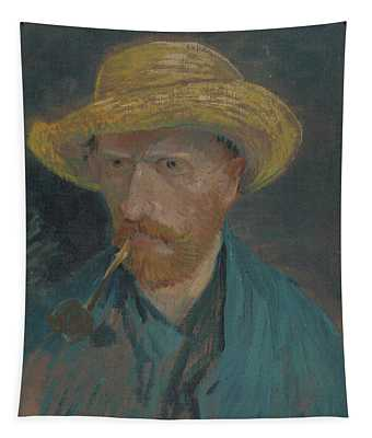 Self-portrait With Straw Hat And Pipe Tapestry