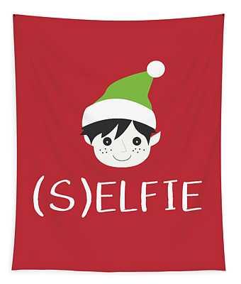 Selfie Elf- Art By Linda Woods Tapestry