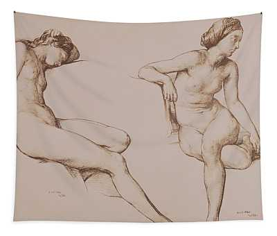Sepia Drawing Of Nude Woman Tapestry
