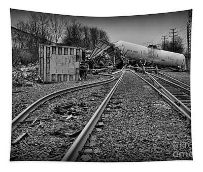 Serpentine Railroad Tracks In Black And White Tapestry
