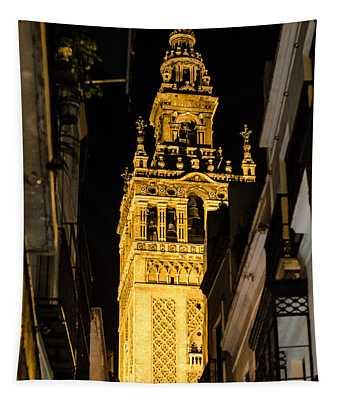Seville - The Giralda At Night  Tapestry