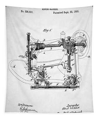 Sewing Machine Patent Tapestry