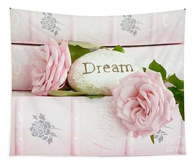 Shabby Chic Cottage Pink Roses On Pink Books - Romantic Inspirational Dream Roses  Tapestry