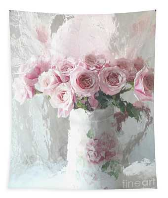 Shabby Chic Impressionistic Romantic Pink Roses In Vase - Pink And White Romantic Roses Decor Tapestry
