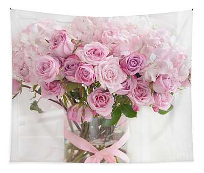 Shabby Chic Pastel Bouquet Of Pink Roses - Cottage Romantic Pink Roses Floral Decor Tapestry