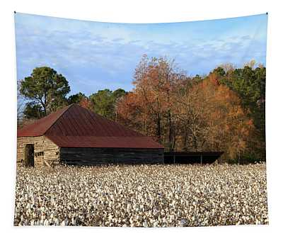 Shack In The Field Tapestry