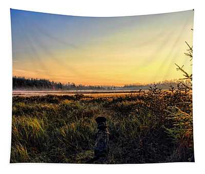 Sharing A September Sunrise With A Retriever Tapestry