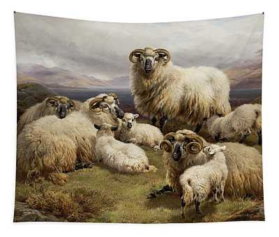 Sheep In A Highland Landscape Tapestry