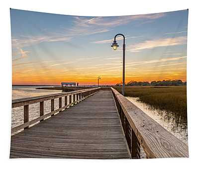 Shem Creek Pier Panoramic Tapestry