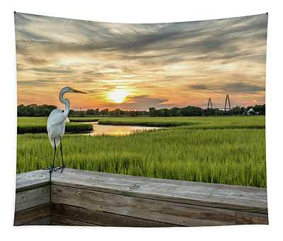 Shem Creek Pier Sunset Tapestry