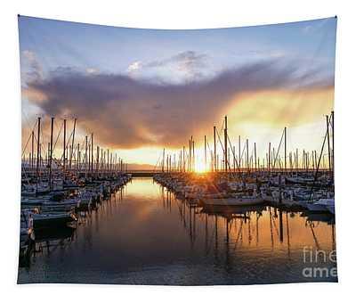 Shilshole Marina Sunset Dramatic Clouds Tapestry