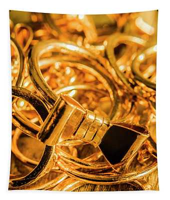 Shiny Gold Rings Tapestry