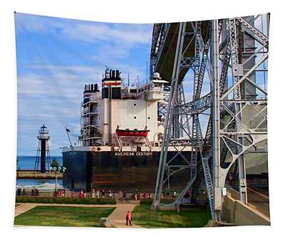 Ship Entering Harbor Under Lift Bridge Tapestry