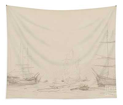 Shipping In Falmouth Harbour Tapestry