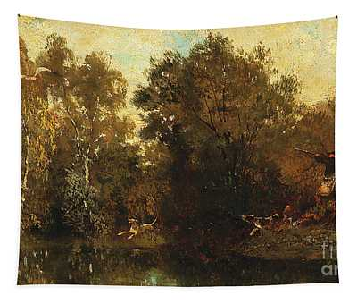 Shooting At A Woodland Pool Tapestry