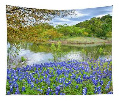 Shoreline Bluebonnets At Lake Travis Tapestry
