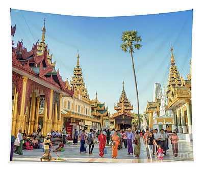 Shwedagon Pagoda Tapestry by Louise Poggianti