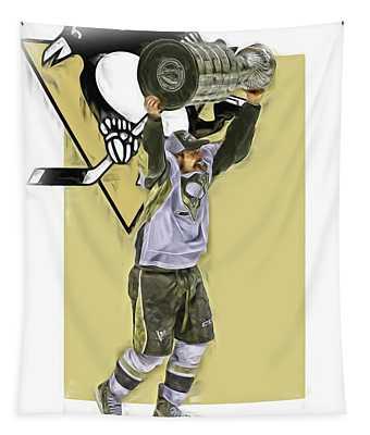 Sidney Crosby Pittsburgh Penguins Oil Art 2 Tapestry