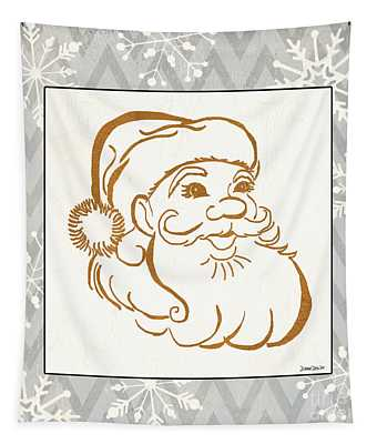 Silver And Gold Santa Tapestry