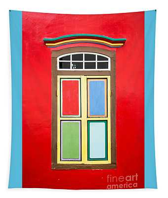 Singapore Red Window Tapestry