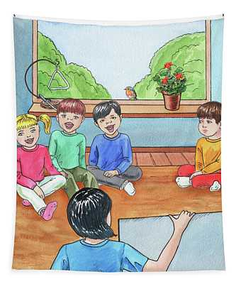 Singing In The Class Book Illustration Tapestry
