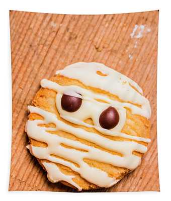 Single Homemade Mummy Cookie For Halloween Tapestry