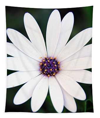 Single White Daisy Macro Tapestry
