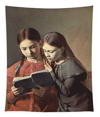 Sisters Reading A Book Tapestry