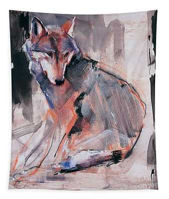 Sitting Wolf Tapestry