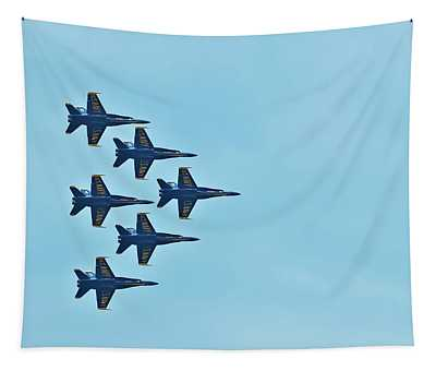 Six Blue Angels In The Clear Blue Sky Tapestry