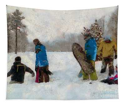 Six Sledders In The Snow Tapestry