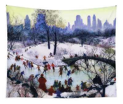 Skating In Central Park Tapestry
