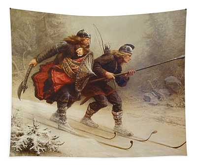 Skiing Birchlegs Crossing The Mountain With The Royal Child Tapestry