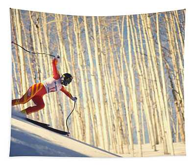 Skiing In Aspen, Colorado Tapestry