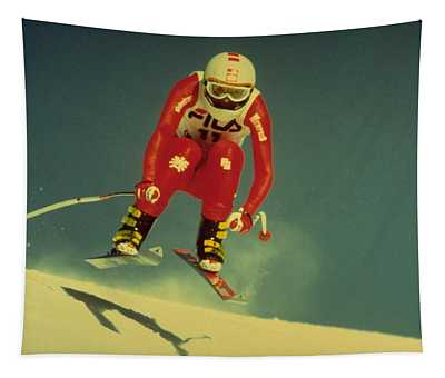Skiing In Crans Montana Tapestry