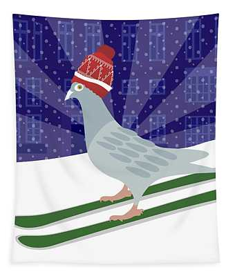 Skiing Pigeon Tapestry